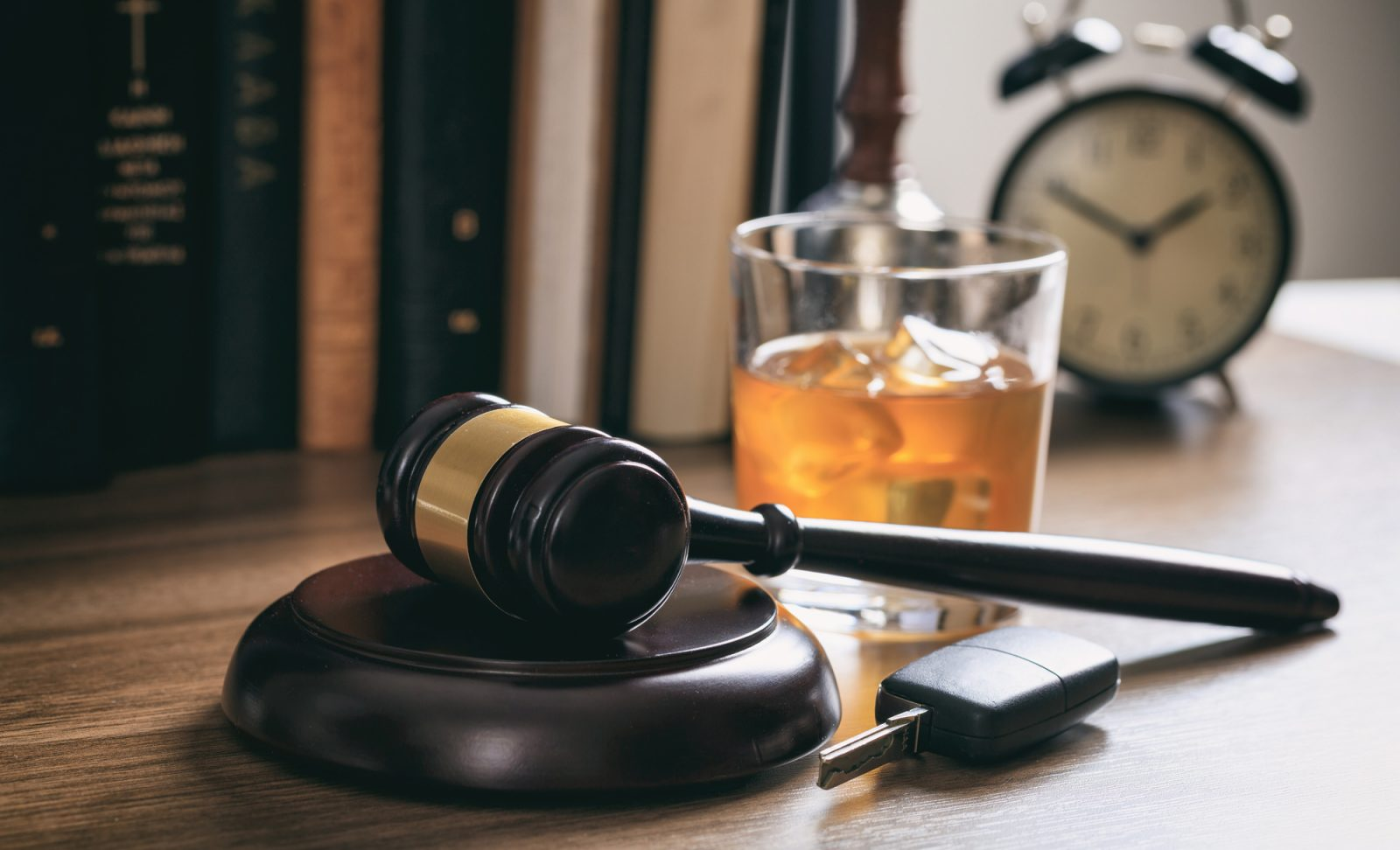 DUI case, Law gavel, alcohol and car keys